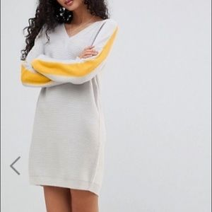 ASOS v-neck color block knotted sweater dress